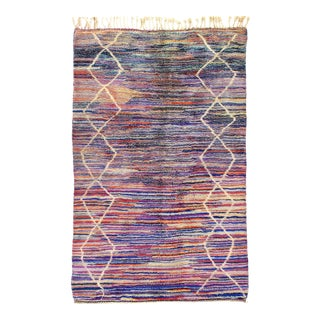 Vintage Hand Knotted Moroccan Rug For Sale