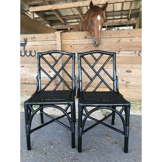 Coastal Regency Rattan Black Lacquered Chinese Chippendale Chairs-A Pair For Sale - Image 9 of 10
