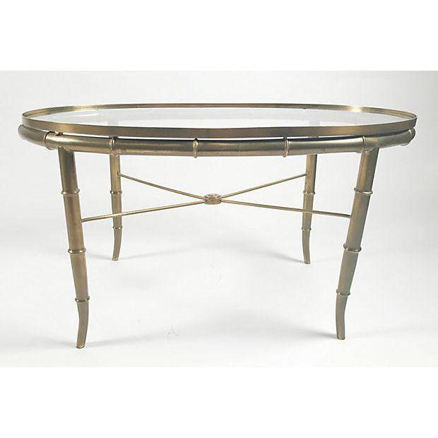 Hollywood Regency Mastercraft Faux Bamboo Cocktail Table For Sale - Image 3 of 4