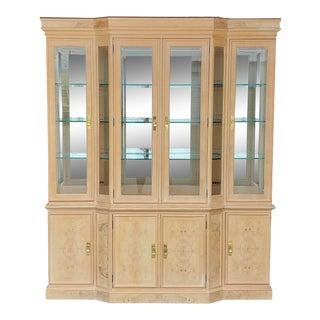 Vintage Drexel Burled Olive & Ash Wood China Cabinet For Sale