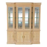 Image of Vintage Drexel Corinthian Burled Ash Wood China Cabinet For Sale