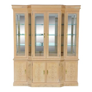 Vintage Drexel Corinthian Burled Ash Wood China Cabinet For Sale