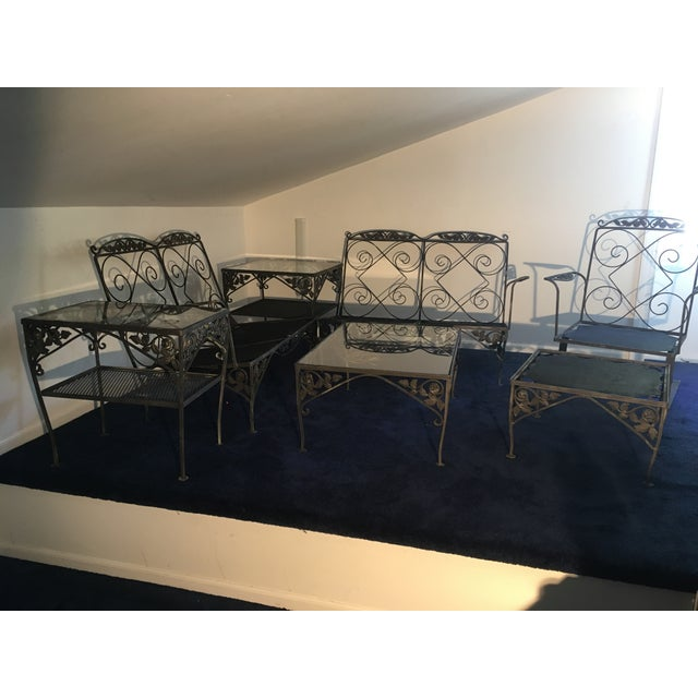 1960 Vintage Wrought Iron Patio Furniture - Set of 7 For Sale - Image 9 of 10