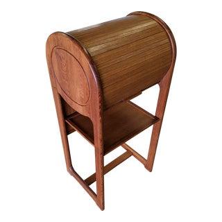 1970s Mid Century Teak Tambour Door Console Table For Sale