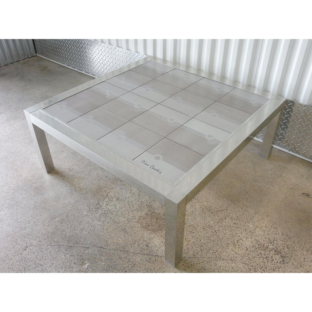 Pierre Cardin Large 1970's Pierre Cardin Mod Tile Top Aluminum Coffee Table For Sale - Image 4 of 8