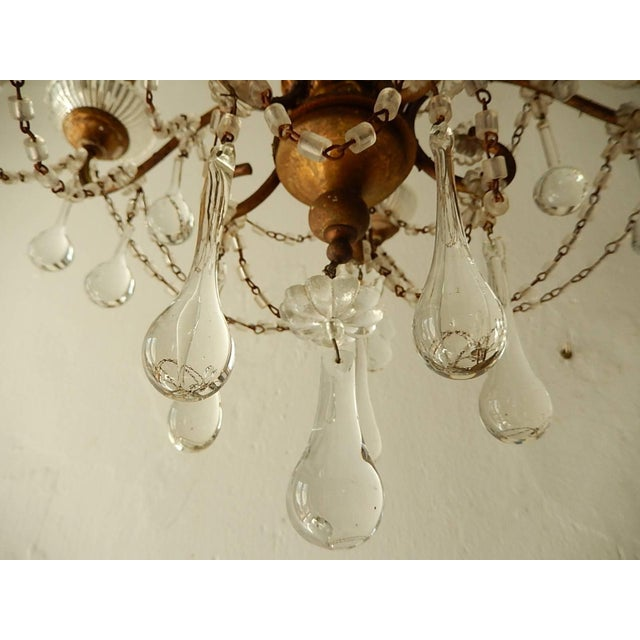 French Baroque Crystal Prisms Swags Old Chandelier For Sale - Image 6 of 11