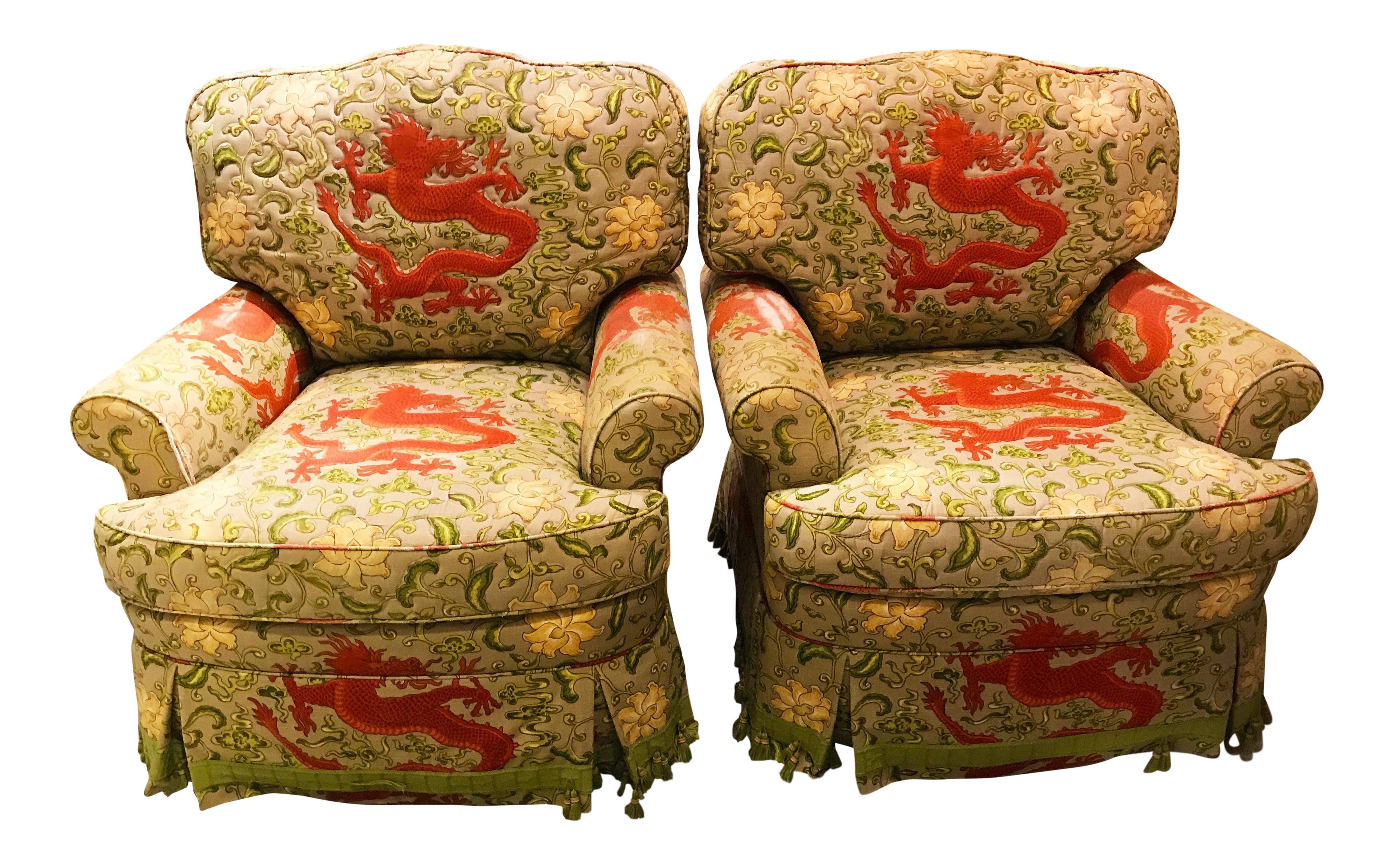 Charles Stewart Swivel Scalamandre Chien Dragon Upholstered Chairs   A Pair