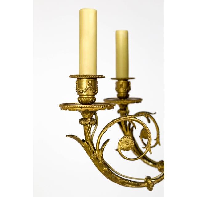 Gold Art Nouveau Gilt Bronze Chandelier With Ladybugs & Flora Scrolls For Sale - Image 8 of 12