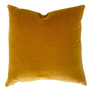 "Yellow Loro Piana Velvet Pillow, 18"" For Sale"