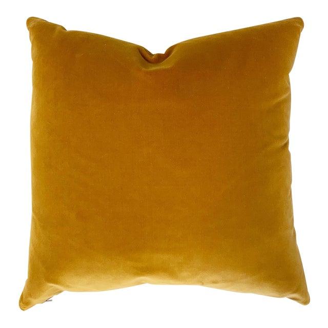 "Yellow Loro Piana Velvet Pillow, 18"" For Sale"