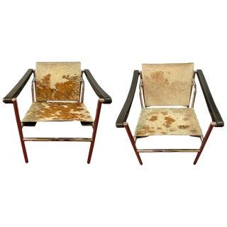 Midcentury Le Corbusier Style Tilt Back Chrome Leather Strap Armchairs, a Pair For Sale