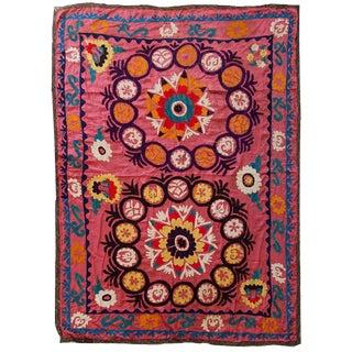 1960s Vintage Uzbek Suzani Embroidery Rug - 4′3″ × 5′8″ For Sale