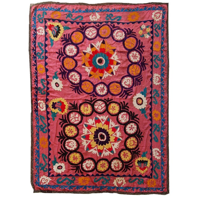 Vintage Mexican Zapotec Rug In Small Size With Stylized: 1960s Vintage Uzbek Suzani Embroidery Rug