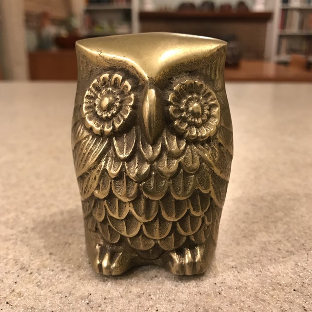 Gold Vintage Brass Owl Paperweight For Sale - Image 8 of 8