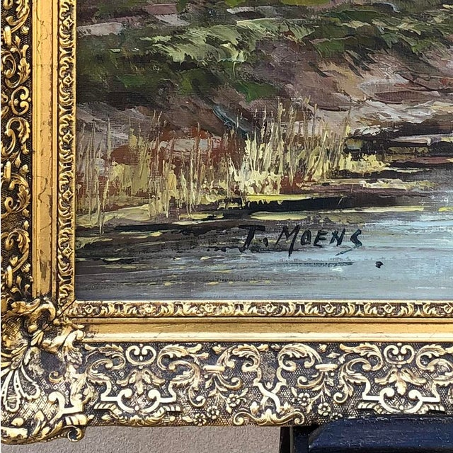 Early 20th Century Antique Framed Oil Painting on Canvas Signed T. Moens For Sale - Image 5 of 11