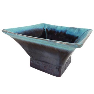 Square Glazed Pottery Serving Dish For Sale