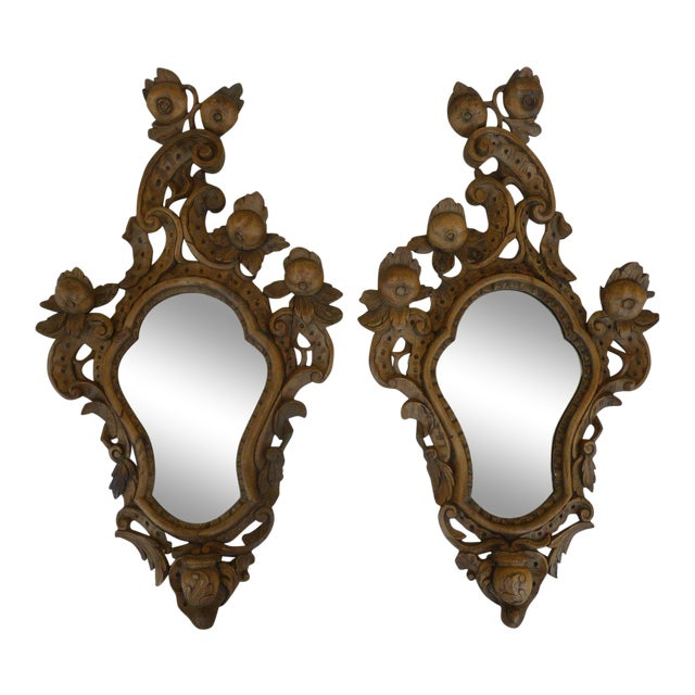 Fine 19th C Italian Venetian Rococo Wood Mirrors With Fruits - a Pair For Sale