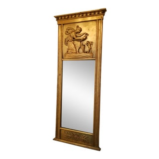 Antique French Gold Trumeau Mirror For Sale