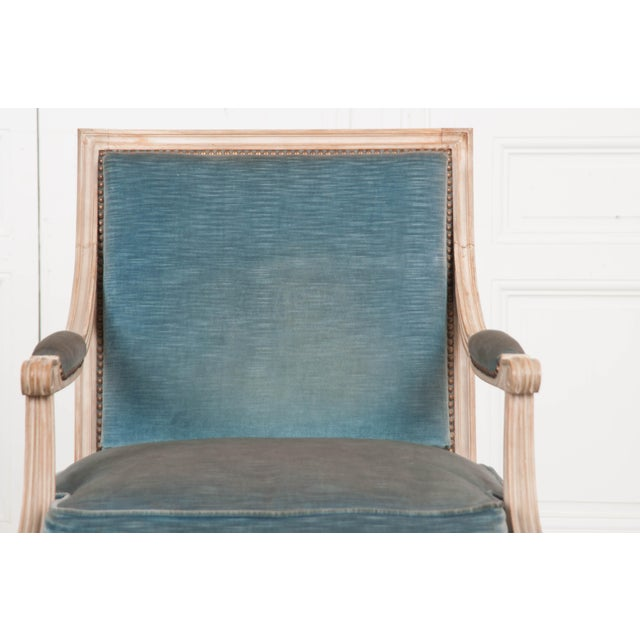 Wood 19th Century French Louis XVI Style Painted Fauteuil Chair For Sale - Image 7 of 12