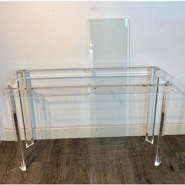 Transparent Sleek Modern Lucite and Glass Console For Sale - Image 8 of 11