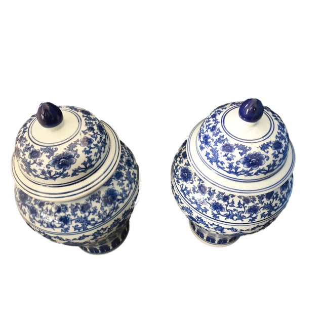 "Asian Porcelain B & W Ginger Jars 14.5"" H For Sale - Image 3 of 9"