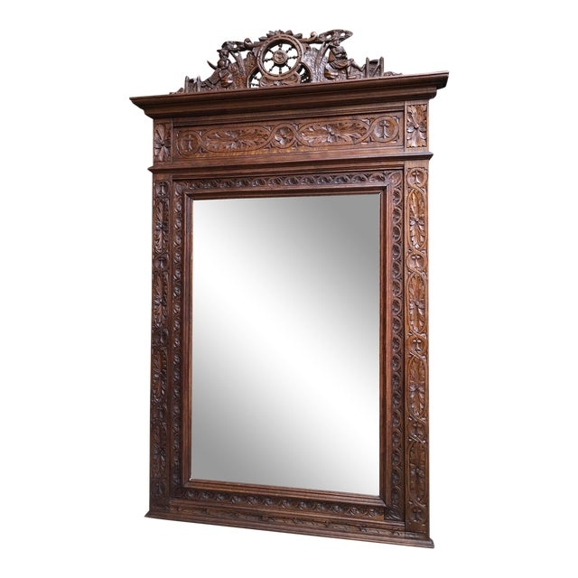 e8dcef97fadc Large Antique French Breton Brittany Carved Oak Frame Pier Wall Mirror  Chestnut For Sale