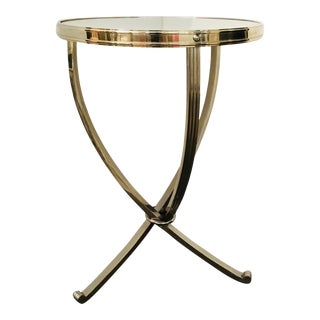 Modern Polished Nickel Side Table For Sale