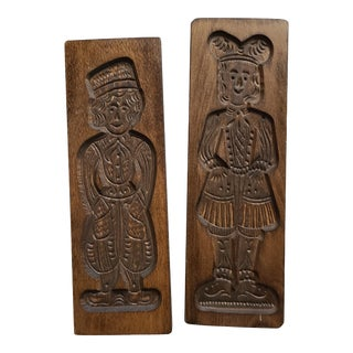 Dutch Wooden Speculaas Springerle Cookie Molds - a Pair For Sale