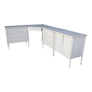 Vintage Mid Century-Modern Modular White Corner Desk For Sale