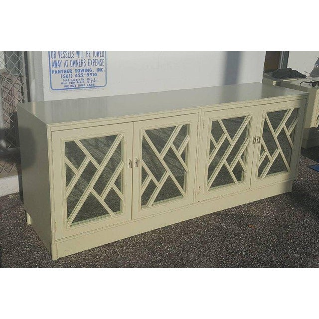 White Faux Bamboo Chinese Chippendale Credenza For Sale In West Palm - Image 6 of 10