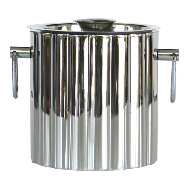 Vintage Stainless Steel Art Deco Style Ice Bucket For Sale