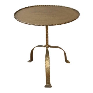 Large Round Gilt Metal Drinks Table For Sale