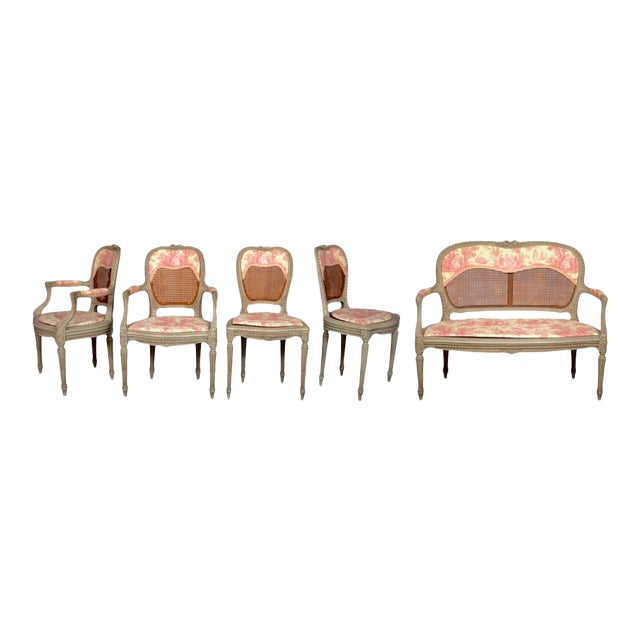 19th Century Louis XV French Caned Salon Collection - Set of 5 - Image 1 of 6