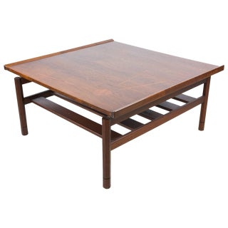 Floating Two-Tier Walnut Coffee Table For Sale