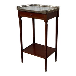 1890 French Walnut Marble Top Bouillote NIghtstand For Sale