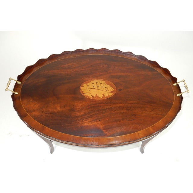 Brass Kittinger Inlaid Mahogany Serving Table For Sale - Image 7 of 13