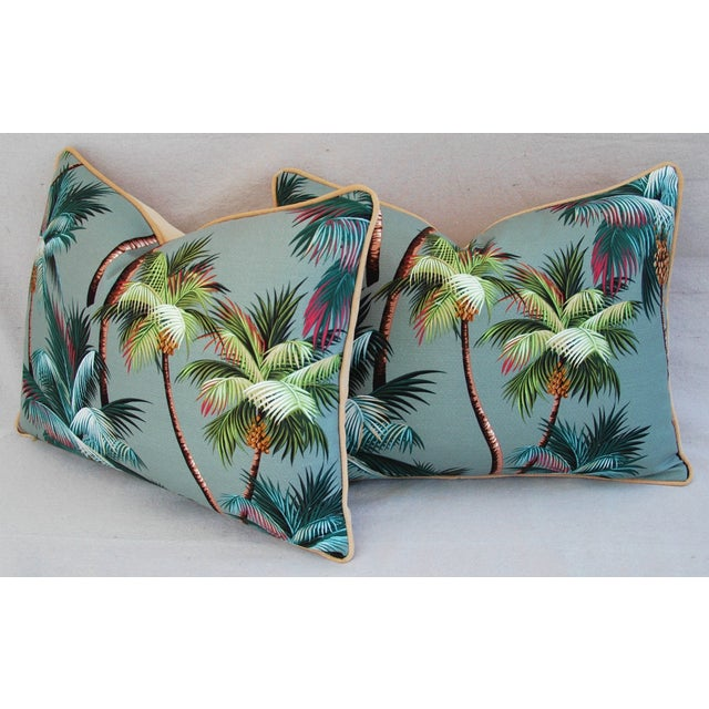 "Oasis Palm Tree Barkcloth Feather/Down Pillows 24"" X 18"" - Pair For Sale - Image 11 of 11"