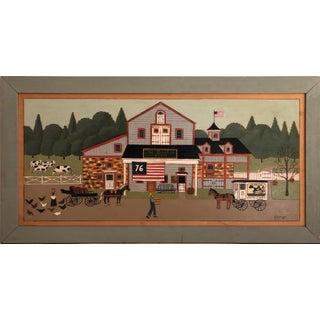 K. Harrigan Folk Art Painting of Rural Country Scene Celebrating America For Sale
