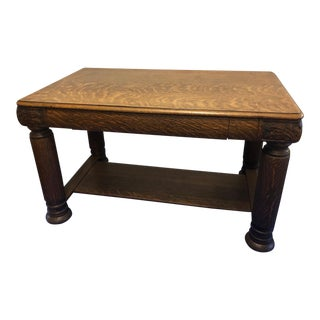 20th Century Arts and Crafts Tiger Curly Maple Carved Library Table Desk For Sale