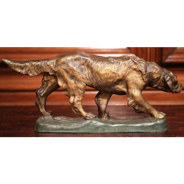 French Early 20th Century French Patinated Bronze Hunting Dog Signed T. Cartier For Sale - Image 3 of 8