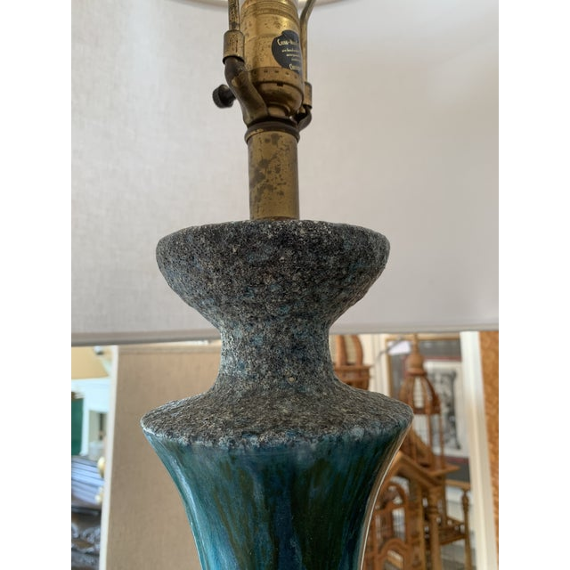 Ceramic Pair of Drip Glaze Mid Century Lamps For Sale - Image 7 of 8