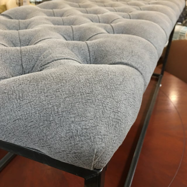 Fabric & Metal Gray Button Tufted Bench - Image 8 of 9
