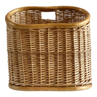 Vintage Wicker and Bamboo Basket For Sale
