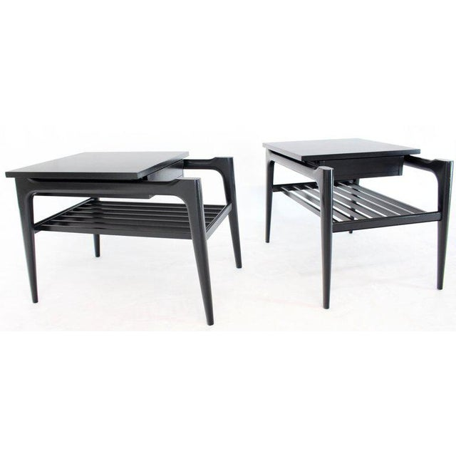 Mahogany Pair of Black Ebonised One Drawer End Nightstands With Magazine Rack Sculptural For Sale - Image 7 of 13