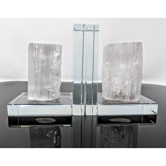 Crystal Lead Crystal & Selenite Bookends - Two (2) For Sale - Image 7 of 11