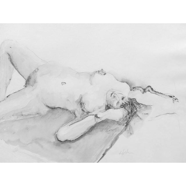 Classic Nude Ink & Charcoal Drawing - Image 1 of 3