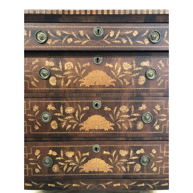 Wood Early 19th Century Dutch Hardwood Inlaid Four Drawer Chest For Sale - Image 7 of 13