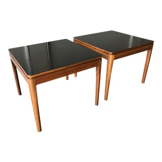 1960s Mid Century Modern Drexel Walnut and Black Lucite Tables - a Pair For Sale