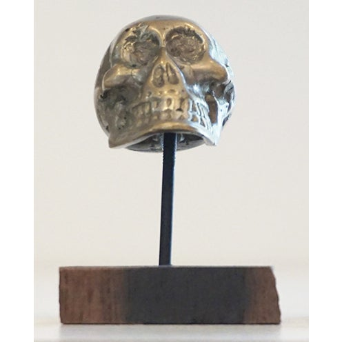 Antique Brass Skull on Walnut Base - Image 2 of 4