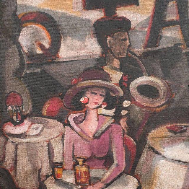 "Canvas Art Deco Oil on Canvas Painting, Entitled ""Aux Chat Qui Peche"" For Sale - Image 7 of 11"